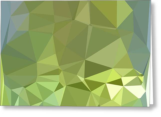 Olive Drab Abstract Low Polygon Background Greeting Card