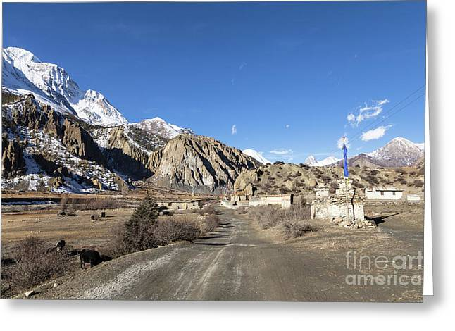 On The Annapurna Circuit Trekking Near Manang In Nepal Greeting Card