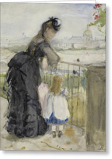 On The Balcony Greeting Card by Berthe Morisot