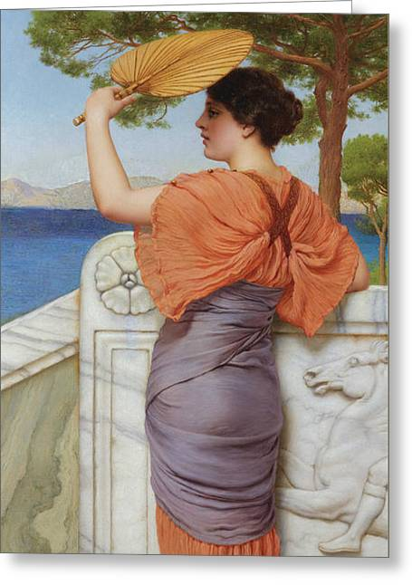 On The Balcony Greeting Card by John William Godward