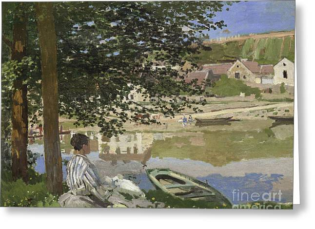 On The Bank Of The Seine, Bennecourt Greeting Card by Claude Monet