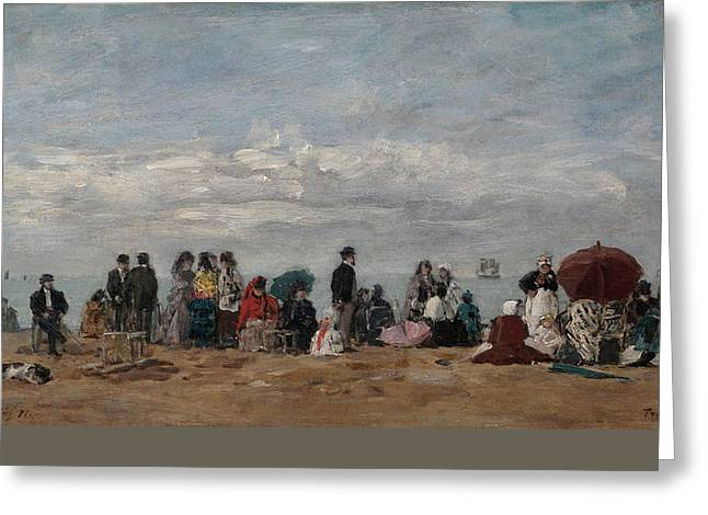 On The Beach Greeting Card by Eugene Boudin