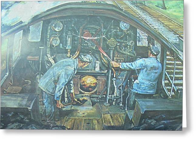 Greeting Card featuring the painting On The Footplate by Mike Jeffries