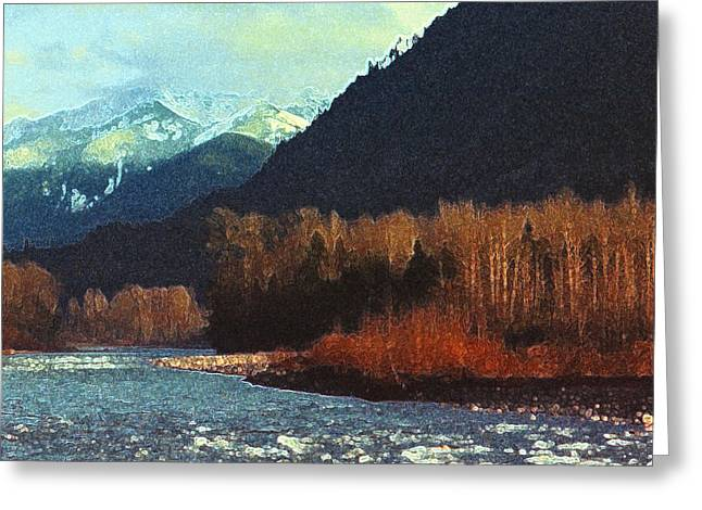 Greeting Card featuring the photograph On The Squamish River 2223 by Lyle Crump