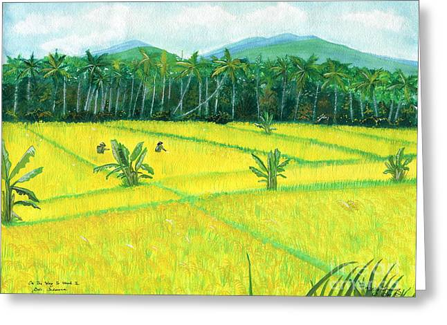 Greeting Card featuring the painting On The Way To Ubud II Bali Indonesia by Melly Terpening