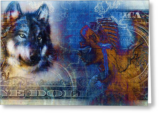 One Dollar Collage With Indian Woman Warrior And Wolf, Ornament Background Greeting Card by Jozef Klopacka