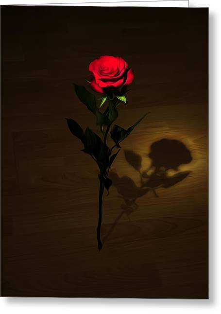 Floral Digital Photographs Greeting Cards - One Red Rose Greeting Card by Svetlana Sewell