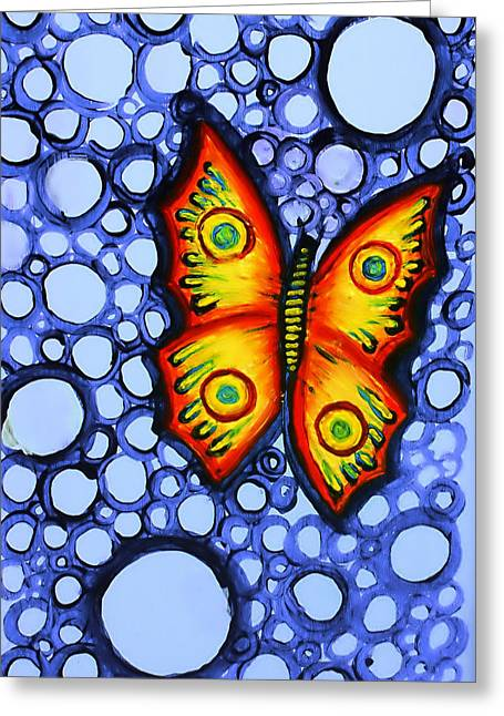 Orange Butterfly Greeting Card by Brenda Higginson