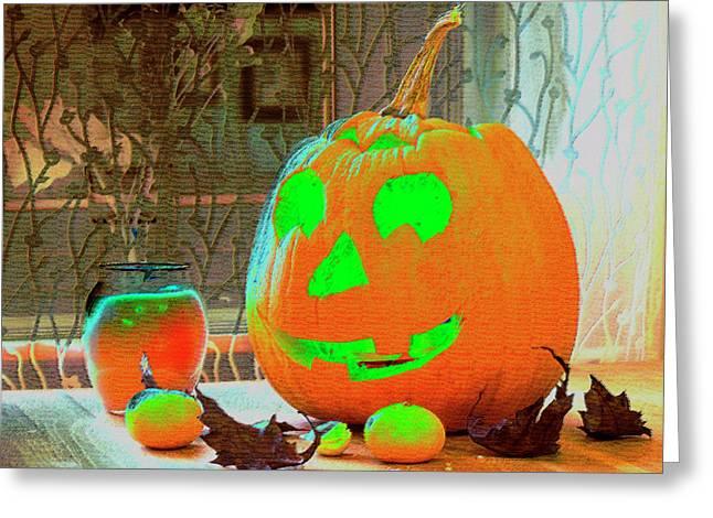 Orange Halloween Decoration Greeting Card