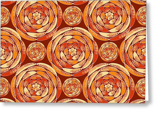 Orange Pattern Greeting Card by Gaspar Avila