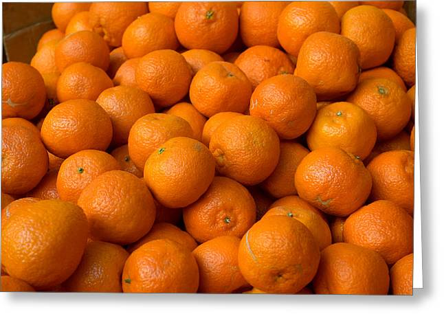 Oranges For Sale In The Souk, Fes Greeting Card by Panoramic Images
