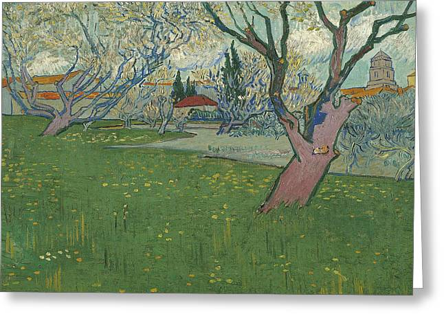 Orchards In Blossom View Of Arles Greeting Card by Vincent van Gogh