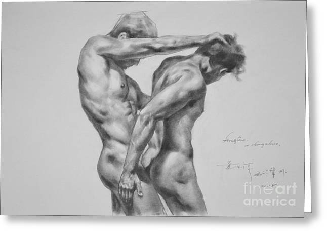 Original Drawing Sketch Charcoal Male Nude Gay Interest Man Art Pencil On Paper -0035 Greeting Card by Hongtao     Huang