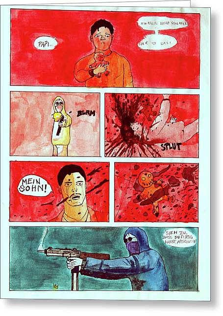 Original Handcoloured Copie Jjr Comic From 1995 Greeting Card
