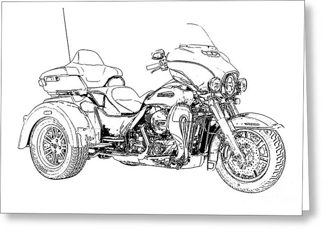 Original Motorcycle Portrait, Gift For Biker, Black And White Art Greeting Card