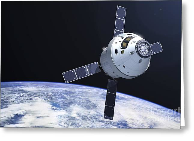 Orion Module In Orbit Above Earth Greeting Card by Adrian Mann