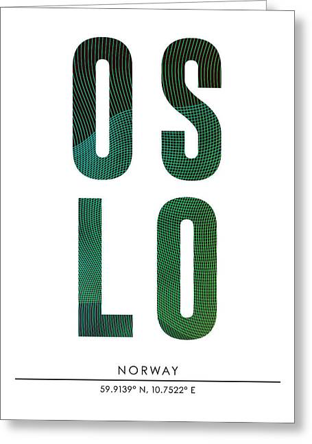 Oslo City Print With Coordinates Greeting Card