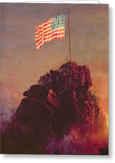 Patriotism Paintings Greeting Cards - Our Flag Greeting Card by Frederic Edwin Church