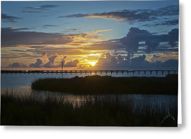 Outer Banks Sunset Greeting Card by Williams-Cairns Photography LLC