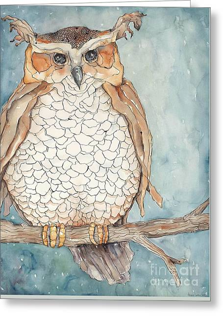 Owl Greeting Card by Annie Laurie