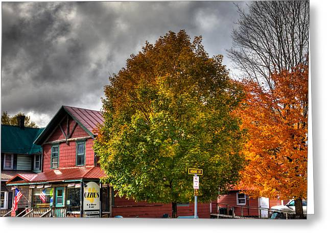 Ozzie's Coffee Bar In Old Forge Ny Greeting Card by David Patterson