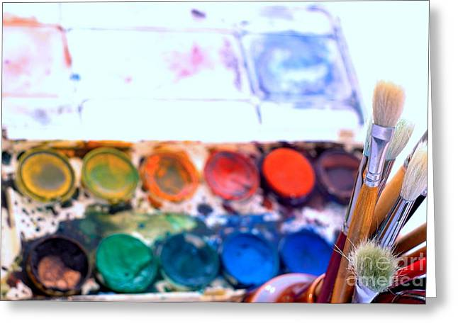 Paintbox And Brushes Greeting Card by Dariusz Gudowicz