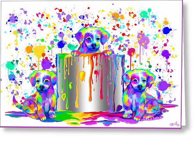 Painted Puppies  Greeting Card by Nick Gustafson