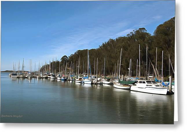 Painting Bay Side Harbor Greeting Card by Barbara Snyder