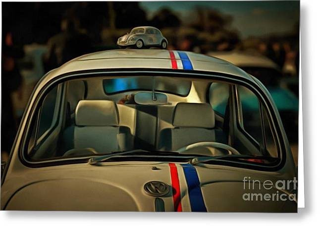 Painting Of 1963 Volkswagen Herbie With Toy Car On Roof Greeting Card