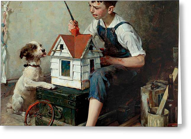 Painting The Little House Greeting Card by Norman Rockwell