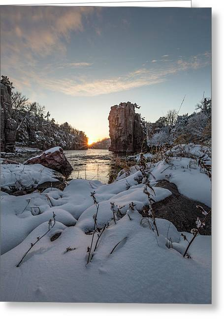 Greeting Card featuring the photograph  Palisades First Snow by Aaron J Groen