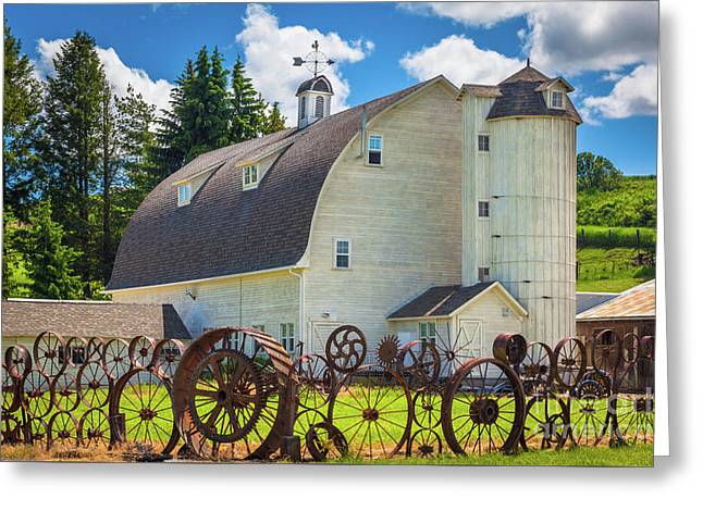 Palosue Wagon Wheel Fence  Greeting Card