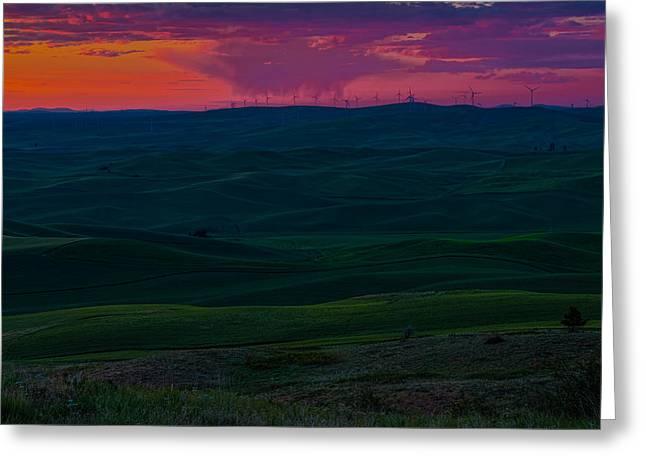 Palouse Sunset 3 Greeting Card by Thomas Hall