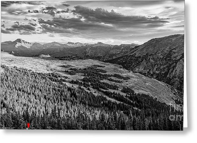 Panorama Of Longs Peak And Continental Divide From Trail Ridge Road - Estes Park Rocky Mountains Greeting Card