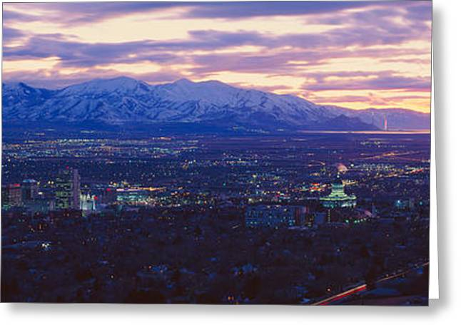 Panoramic Sunset Of Salt Lake City Greeting Card by Panoramic Images