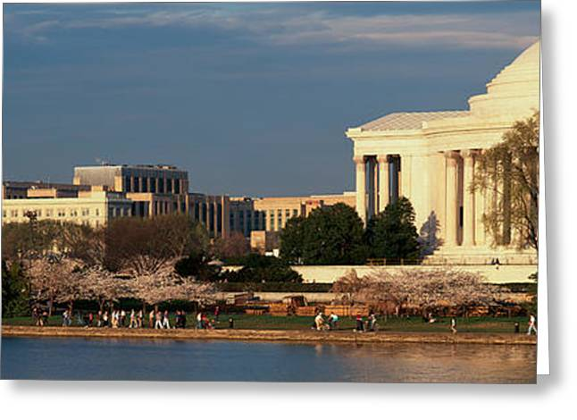 Panoramic View Of Jefferson Memorial Greeting Card by Panoramic Images