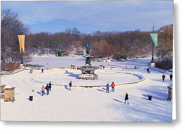 Panoramic View Of Water Fountain Greeting Card by Panoramic Images