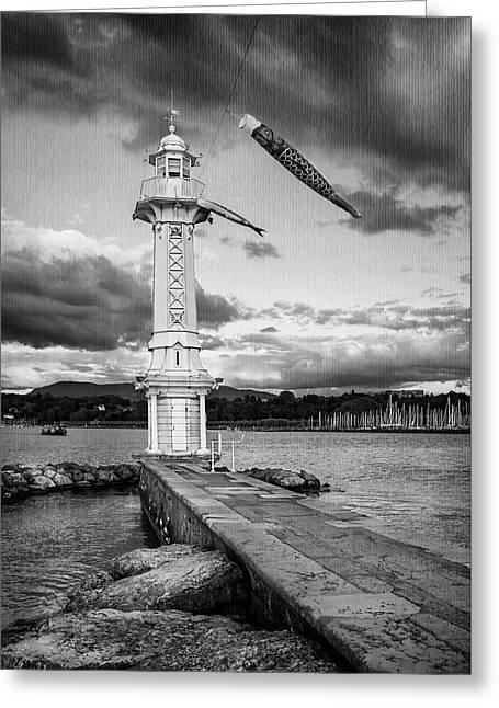 Paquis Lighthouse Geneva Switzerland  Greeting Card