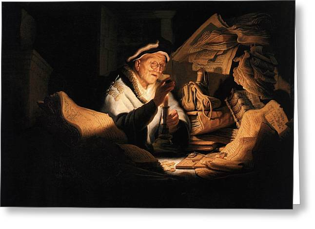 Parable Of The Rich Man Greeting Card by Rembrandt van Rijn