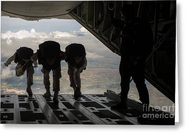 High Altitude Flying Greeting Cards - Paratroopers Jump Out Of A Kc-130j Greeting Card by Stocktrek Images