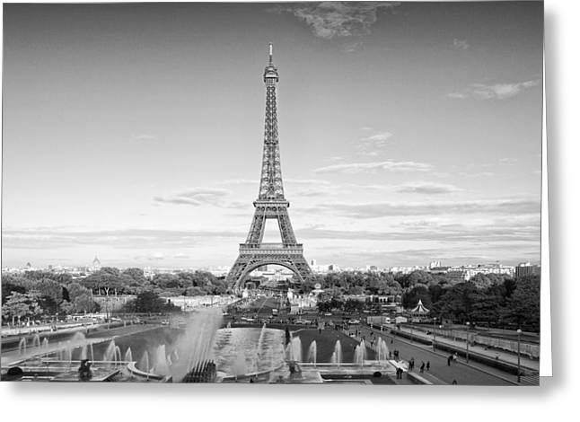 Paris Eiffel Tower Monochrome Greeting Card by Melanie Viola
