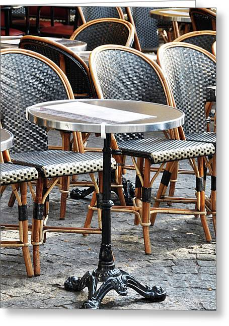 Parisian Cafe Terrace Greeting Card by Dutourdumonde Photography