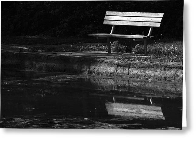 Greeting Card featuring the photograph Park Bench Reflections by Wanda Brandon