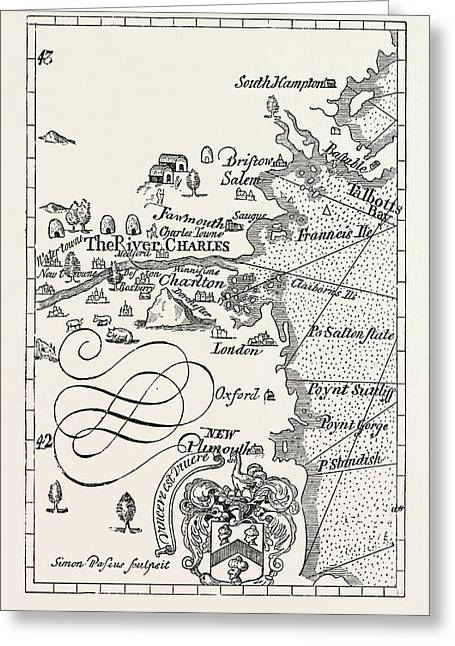 Part Of Captain J Smith's Map Of New England Greeting Card by American School