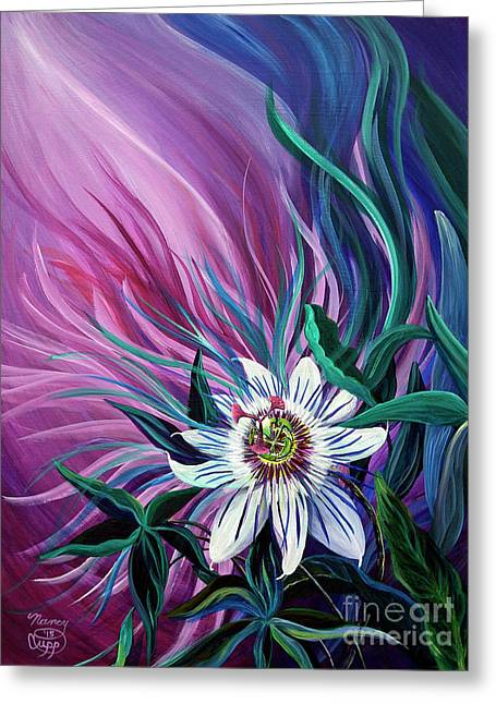 Passion Flower Greeting Card by Nancy Cupp