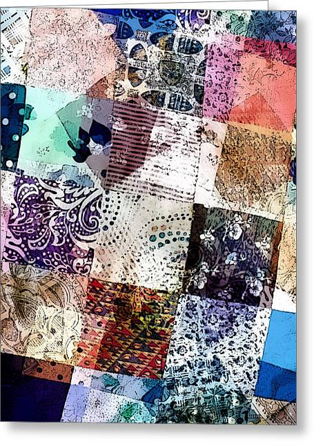 Patchwork Abstract Greeting Card by Tom Gowanlock