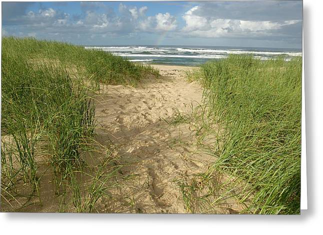 Blue Green Wave Greeting Cards - Path on beach leading to Ocean Greeting Card by Sami Sarkis