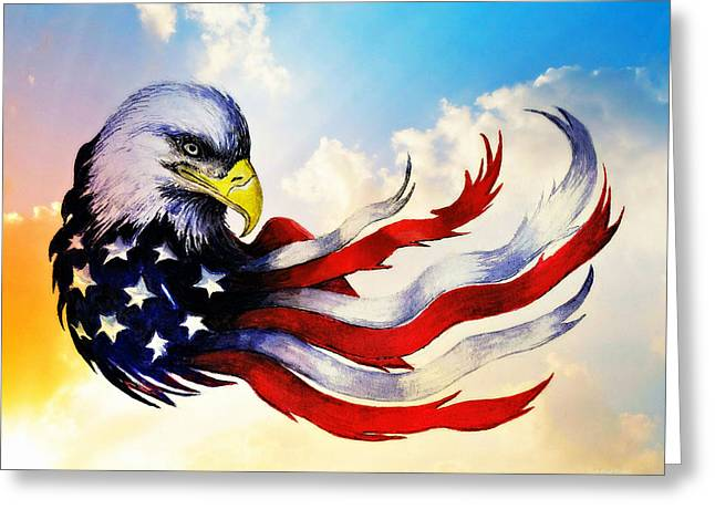 Patriotic Eagle Greeting Card by Andrew Read