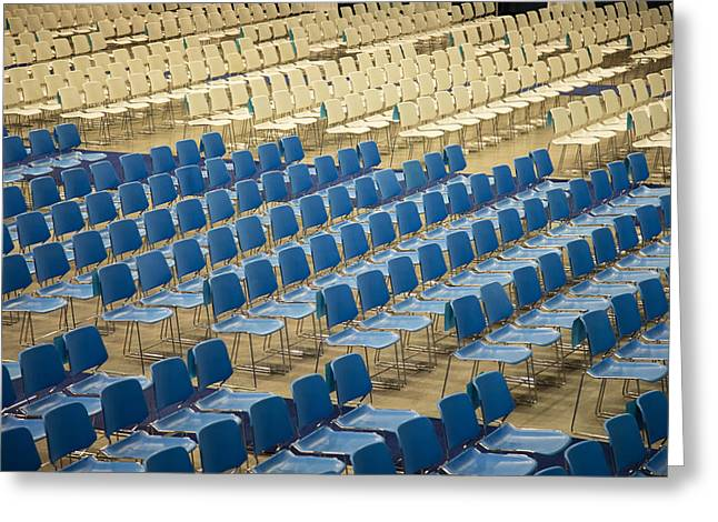 Open Air Theater Greeting Cards - Patterned blue and white Chairs Greeting Card by Diana Hughes