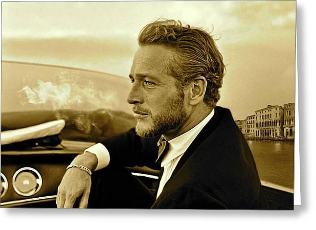 Paul Newman, Movie Star, Cruising Venice, Enjoying A Cuban Cigar Greeting Card by Thomas Pollart